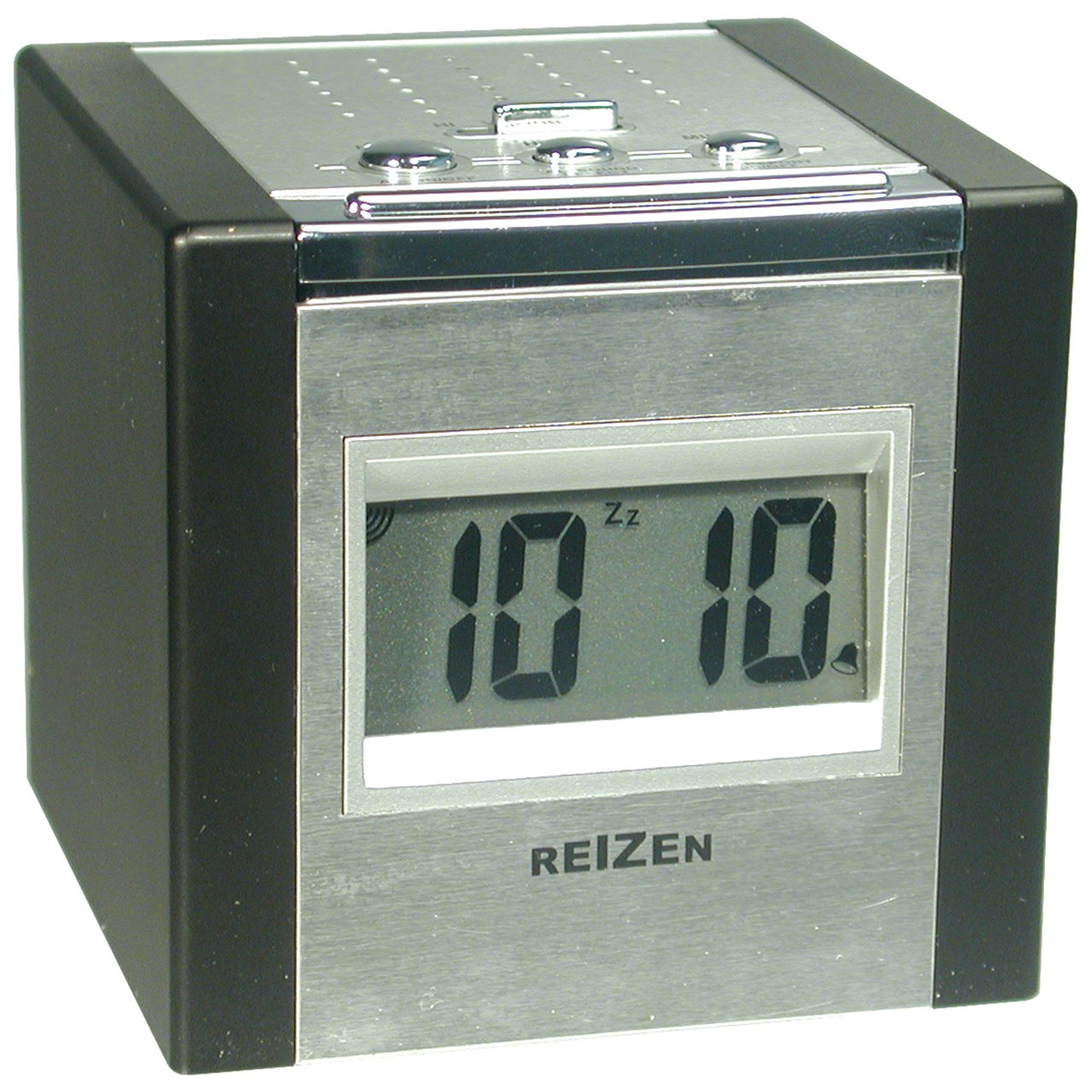 Reizen Talking LCD Alarm Cube Clock - Silver and Black