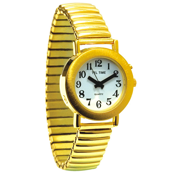 Maxiaids ladies gold spanish talking watch one button expansion band for Watches of spain