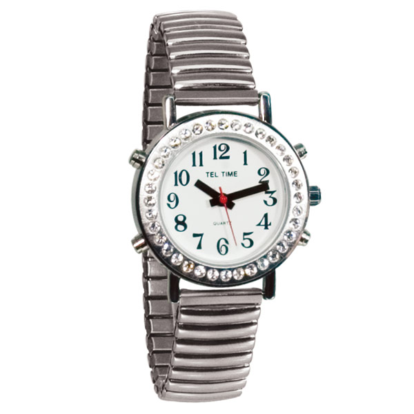 Maxiaids ladies talking watch with rhinestone bezel and expansion band spani for Watches of spain