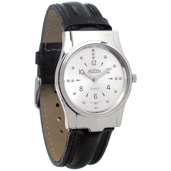 Reizen Mens Braille Watch -Chrome, Leather Band