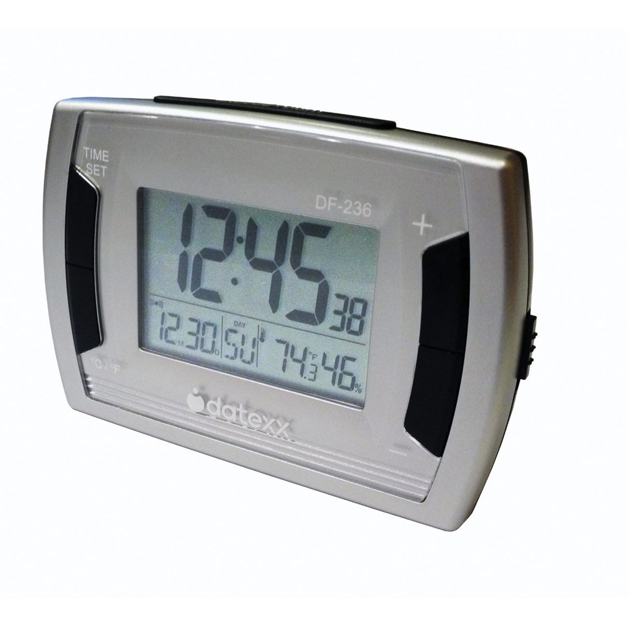maxiaids low vision alarm clock with indoor thermometer. Black Bedroom Furniture Sets. Home Design Ideas