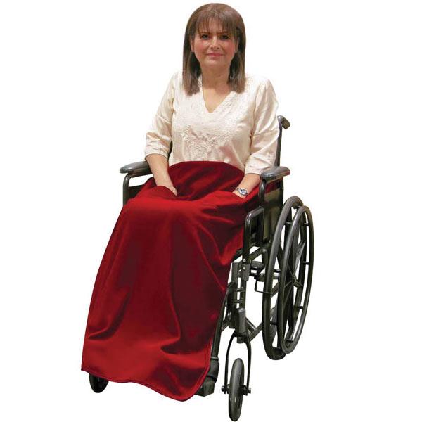 Wheelchair Blanket with Pockets- Non-Slip- Burgundy