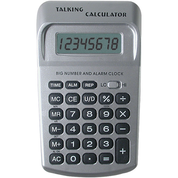 Maxiaids Big Number Pocket Talking Calculator With Clock