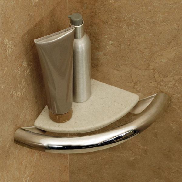 Invisia Bath Corner Shelf-Support Rail- Chrome