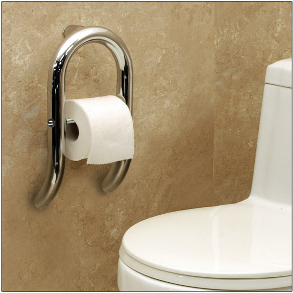 Maxiaids Invisia Toilet Roll Holder W Support Rail Chrome