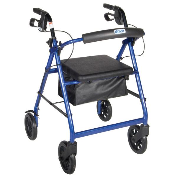 Aluminum Rollator - Blue, 4 Wheel, 8 inch Casters w Loop Lock