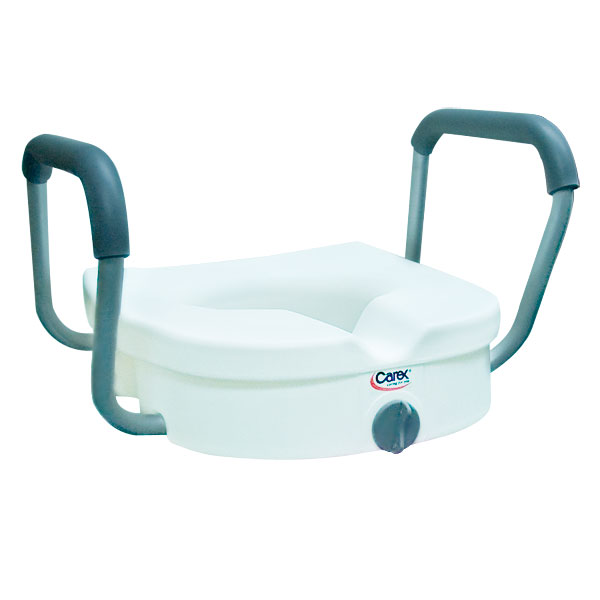 Maxiaids E Z Lock Raised Toilet Seat With Padded Armrest