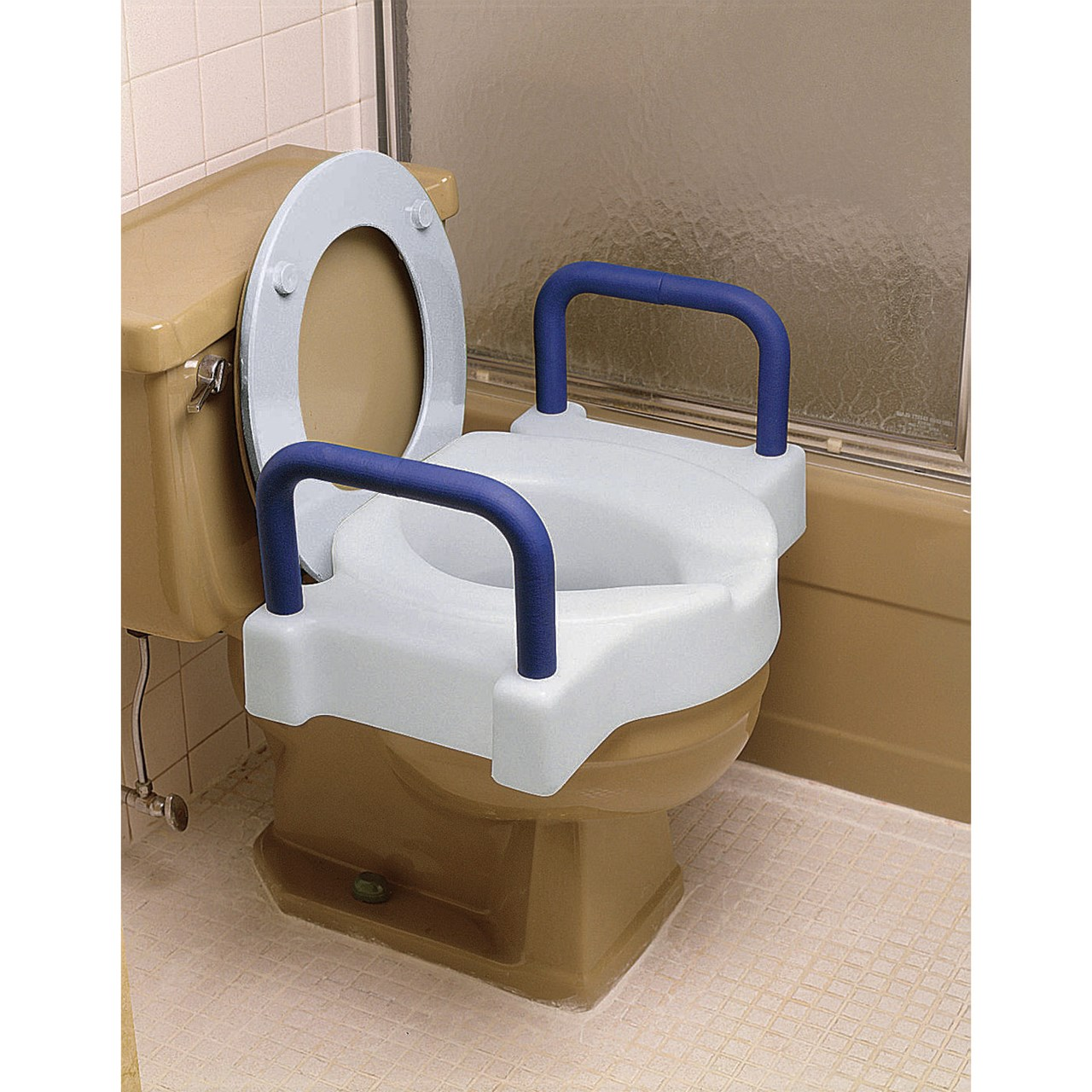 Maxiaids Tall Ette Raised Toilet Seat W Arms 4 In