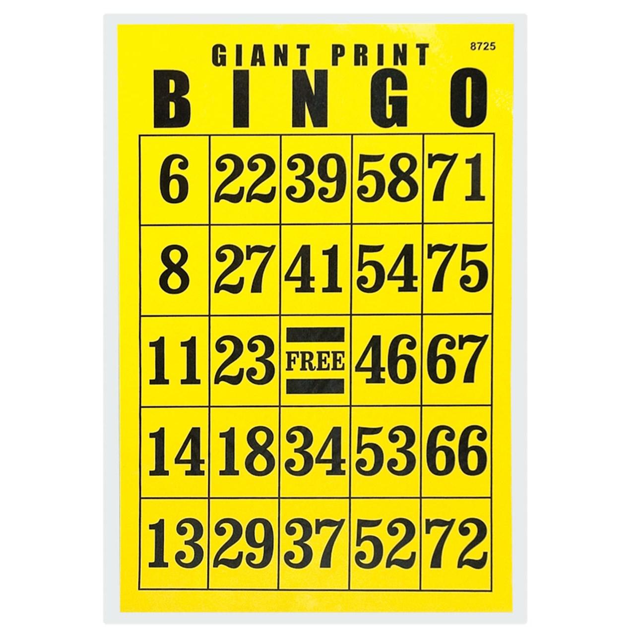 Giant Print Bingo Card - Black on Yellow Background - REDUCED PRICE