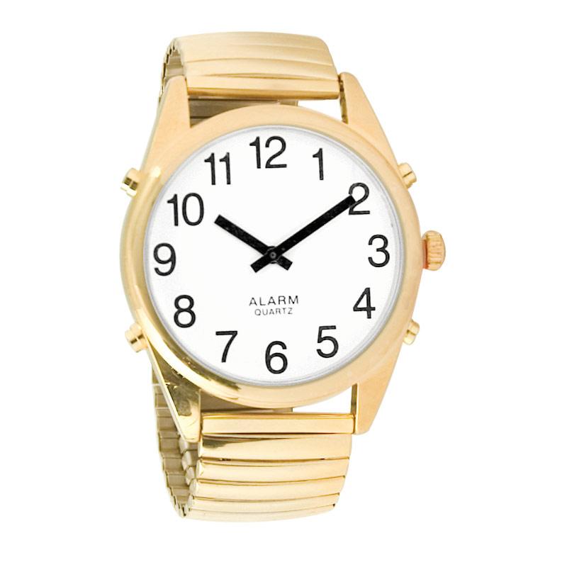 Reizen Gold-Tone Talking Extra-Large Face Watch- Exp Band- Unisex
