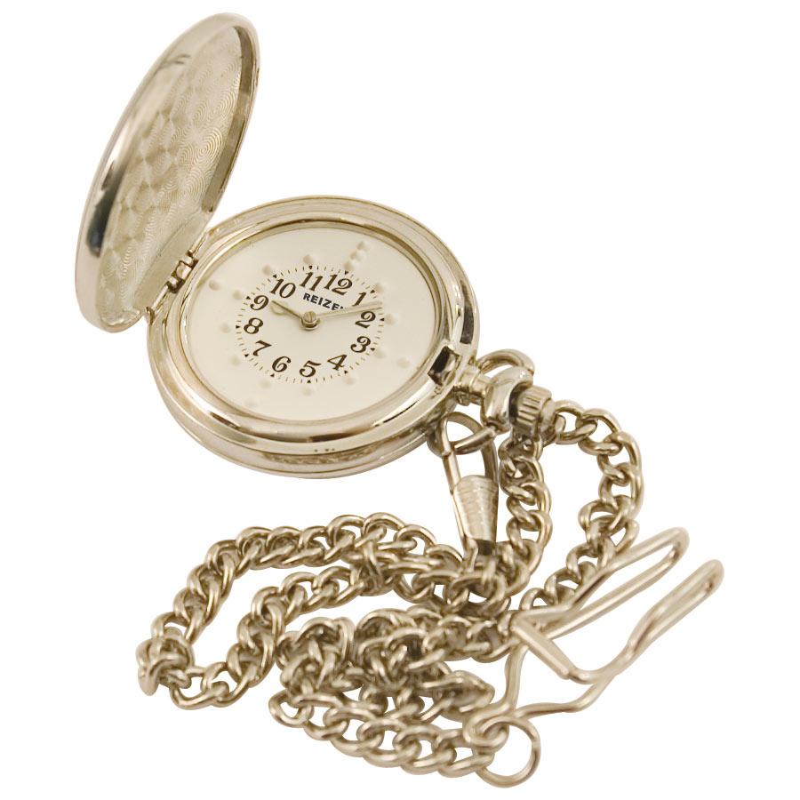 Reizen Chrome Braille Pocket Watch with 12-inch chain