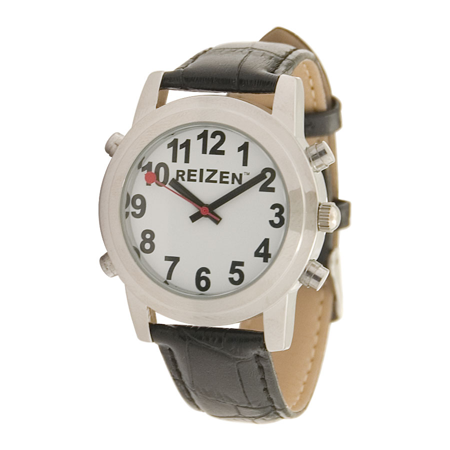 Reizen Talking Watch- White Face- Leather Band- Spanish