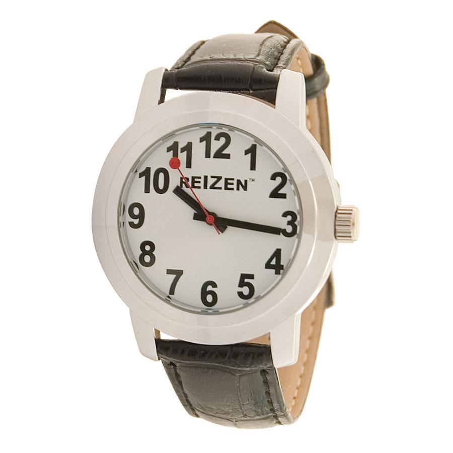 Reizen Low Vision Quartz Watch- White Face- Leather Band- Unisex