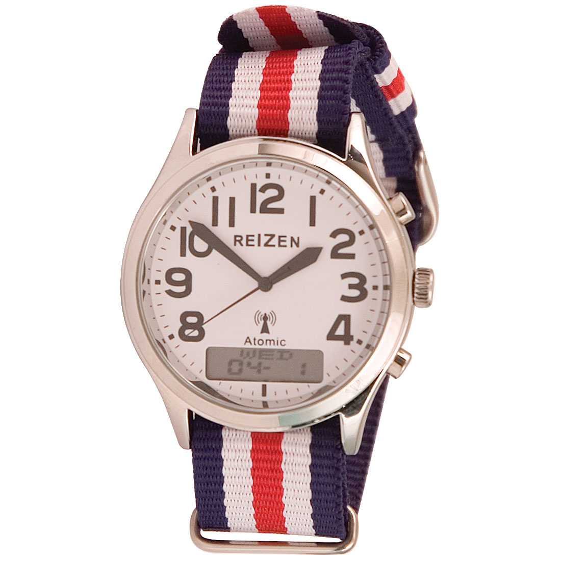 Reizen Low-Vision Ana-Digit Atomic Watch- Red-White-Blue Striped Band