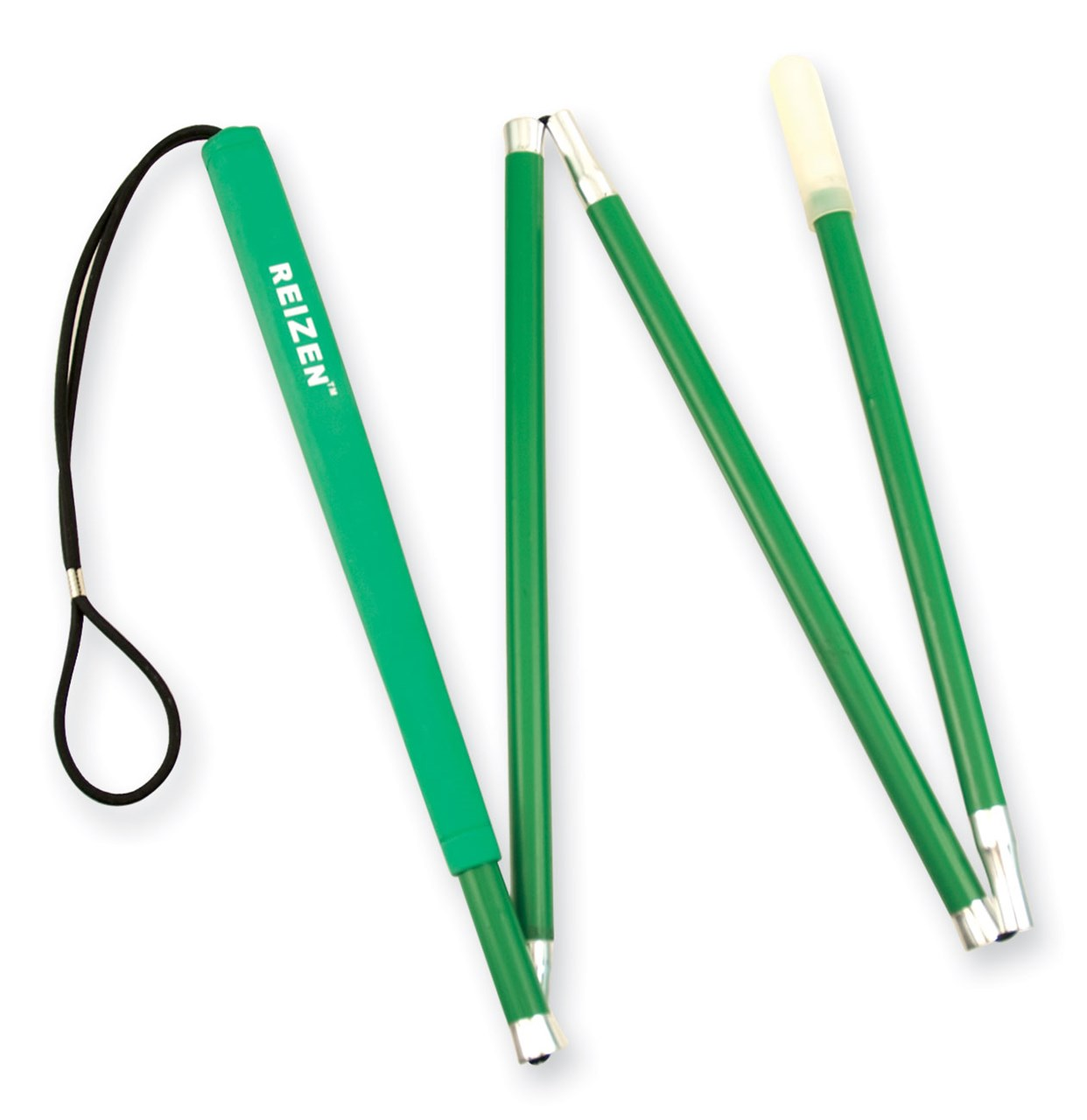 Reizen 4-section Aluminum Folding Green Cane with Green Grip- 46-in.