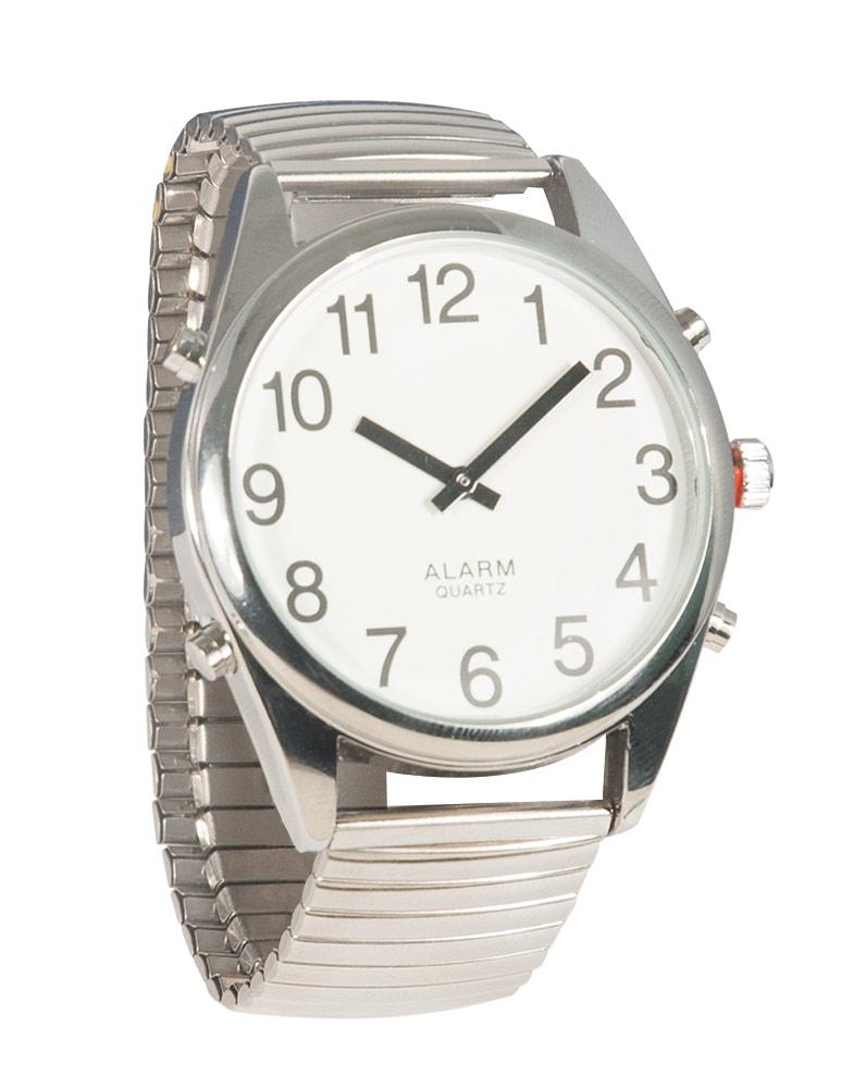 Reizen Chrome Talking Extra-Large Face Watch- Exp Band- Unisex