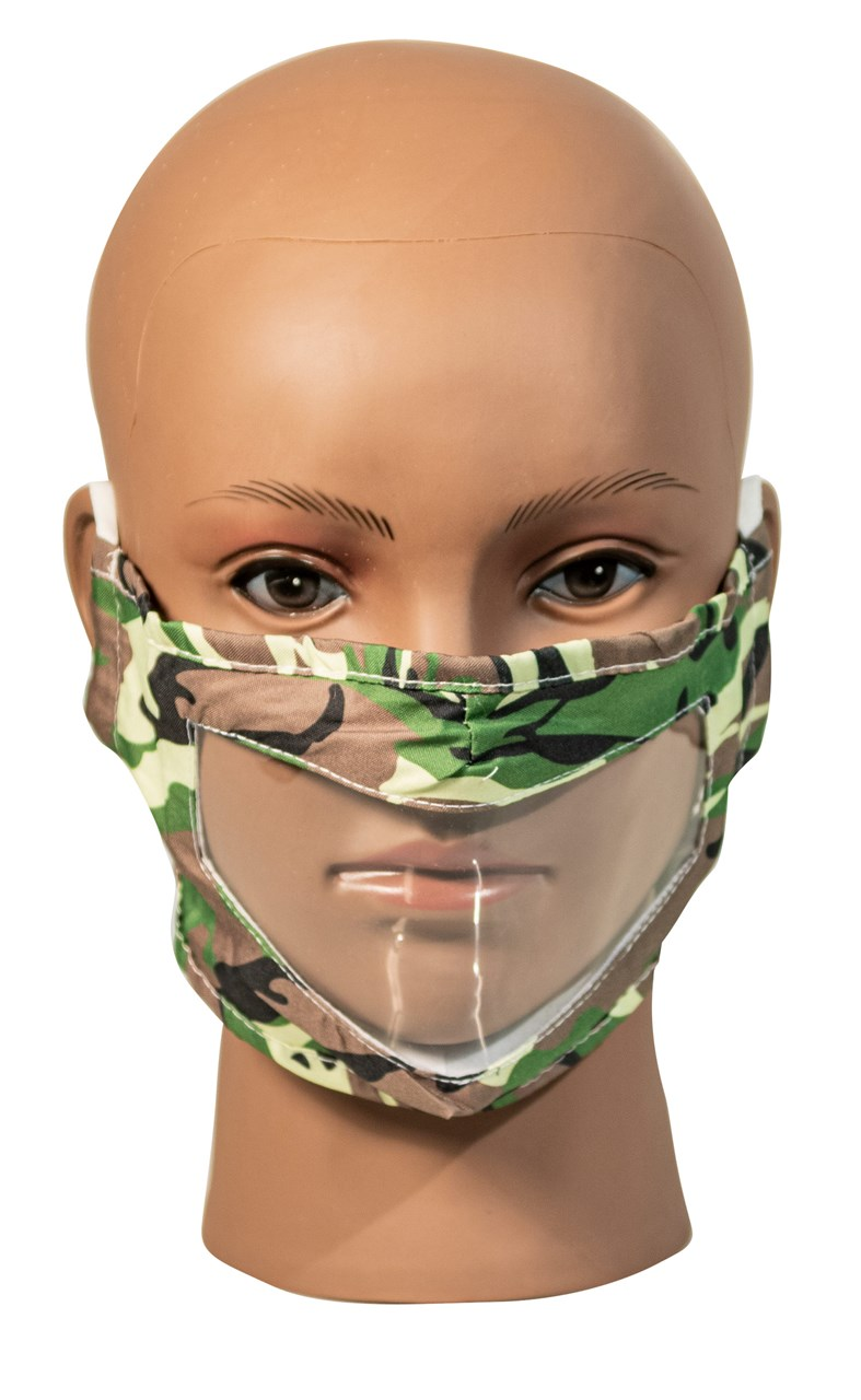Camo Green Reusable, Washable, Face Mask with Clear Window