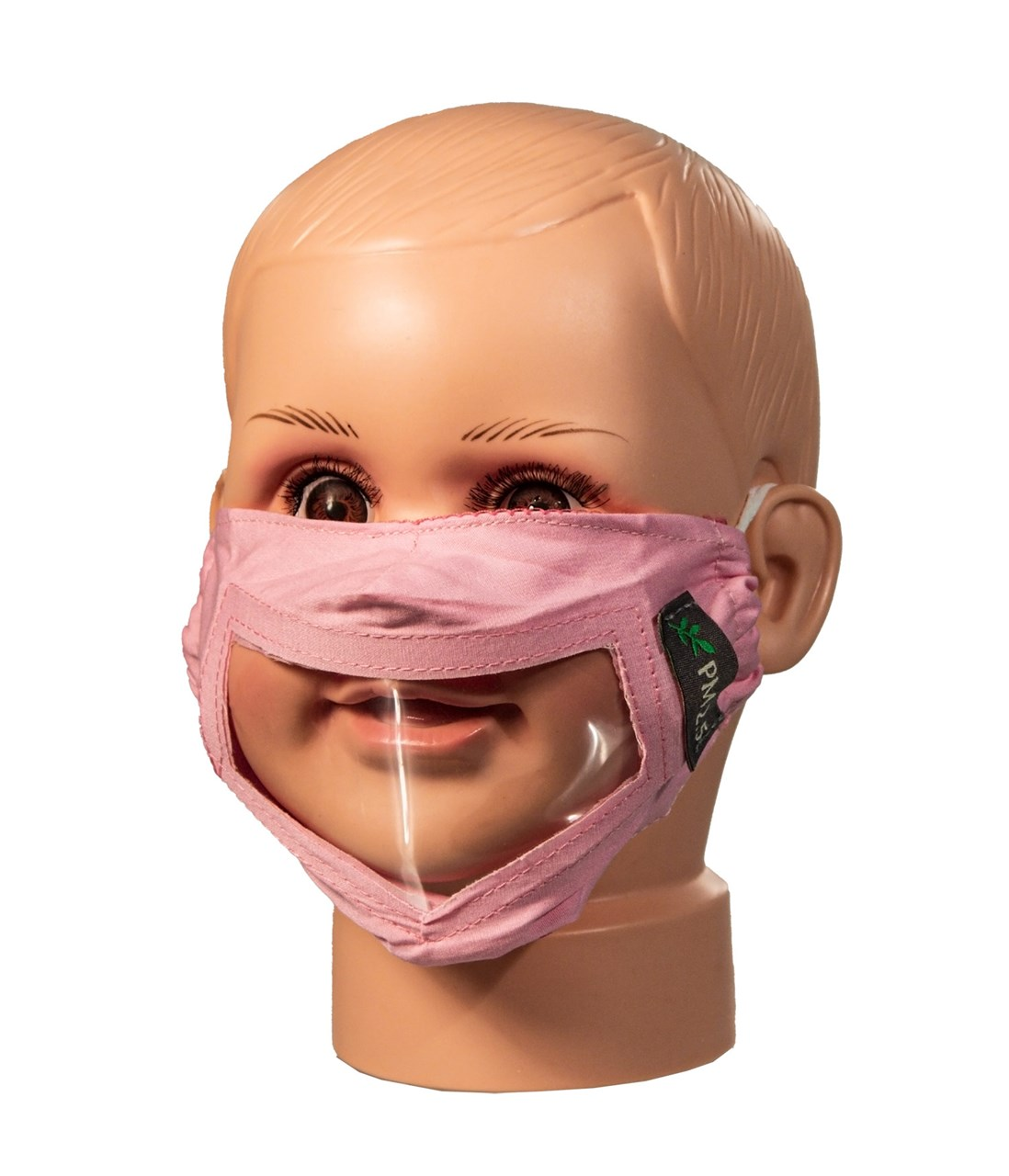 Pink Childrens Reusable Face Mask with Clear Window