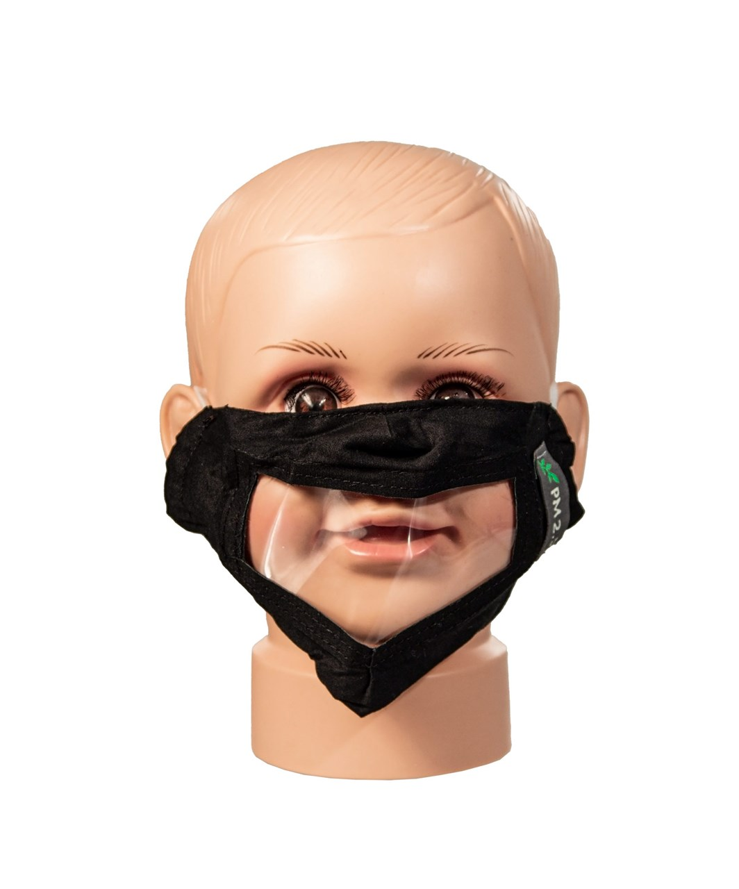 Black Childrens Reusable Face Mask with Clear Window