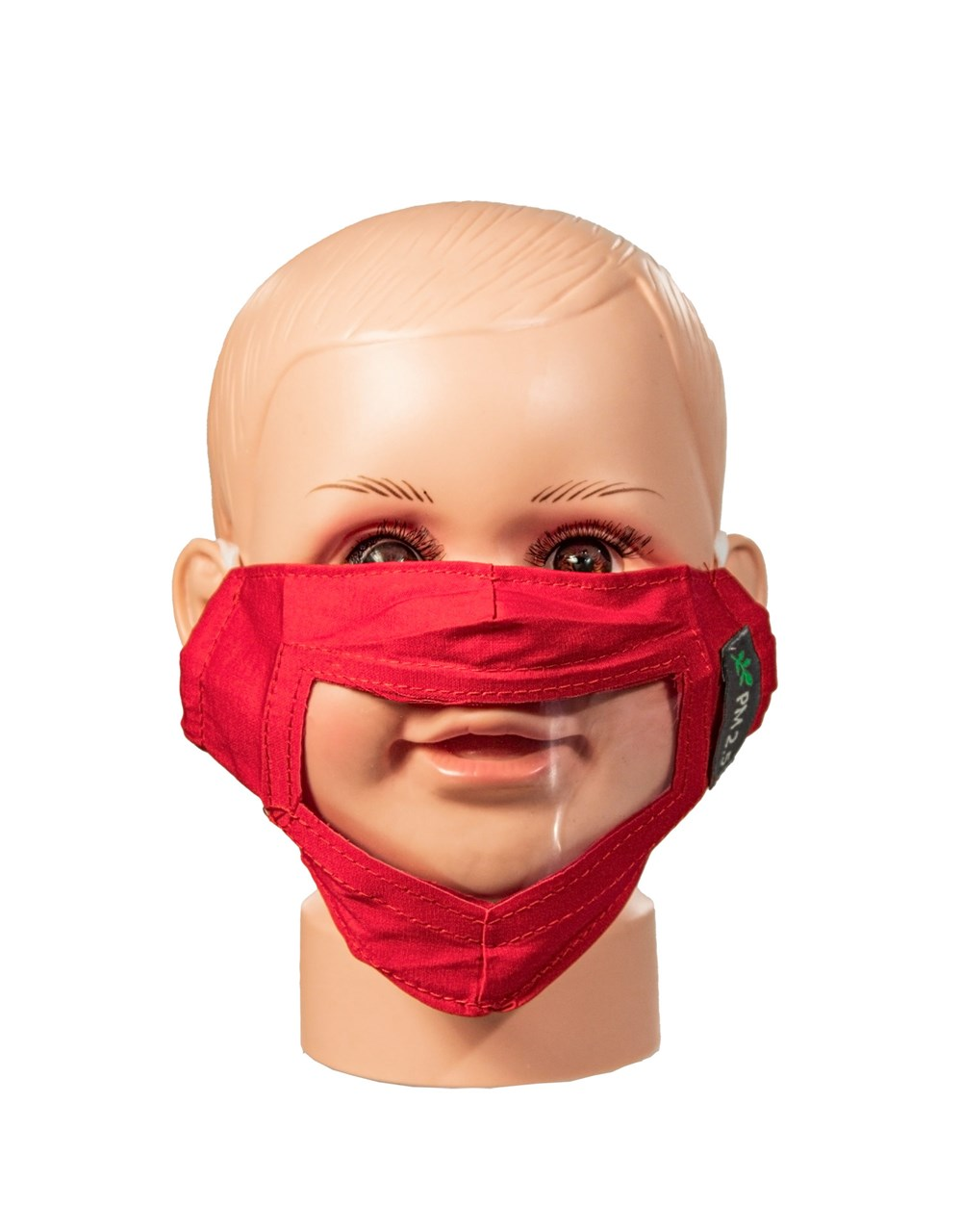 Red Childrens Reusable Face Mask with Clear Window