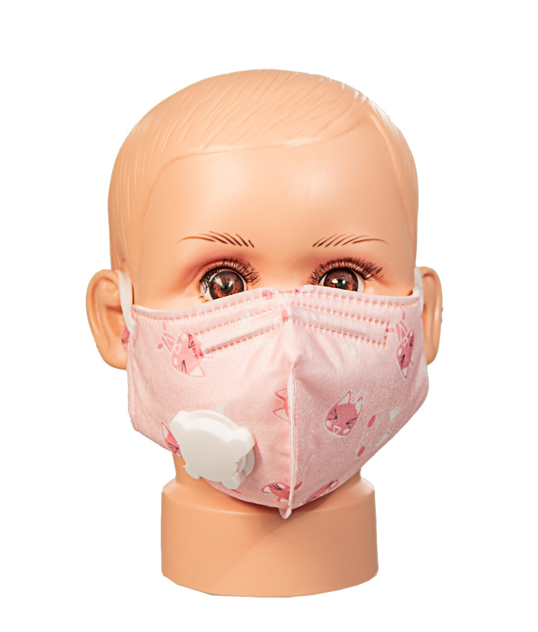Patterned Childrens Cotton Face Mask with Vent- Pink